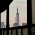 Empire State Building seen through the window of a dance studio in Brooklyn