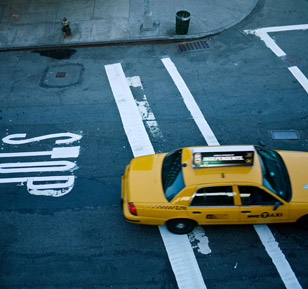 One of the iconic yellow New York City cabs