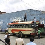 A chicken bus as seen in Colomba, Guatemala