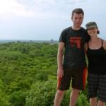 Marissa & me posing on a temple at Tikal