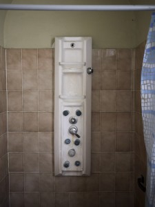 Weird shower #2: What are all these buttons for and where's the water coming from?