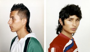 Two typical soccer boys with mullets in Medellin, Colombia