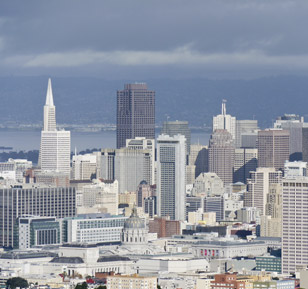 The San Francisco skyline (easily recognizable by the Transamerica Pyramid on the left)