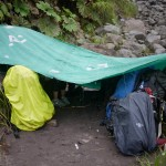 A temporary camp we set up during our hike up the volcano when the rain got too bad