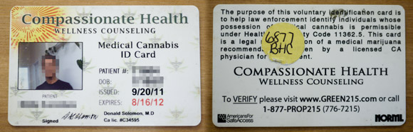 This medical marijuana card let's you smoke weed legally in California