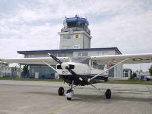 The flight lesson took place at a small airport just North of Berlin