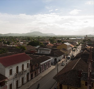 A street in the colonial town of Granada, Nicaragua, photographed from a church tower.
