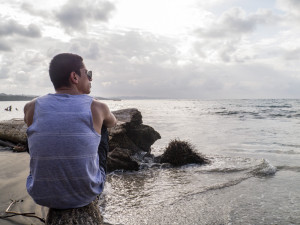 Fofo looking at sea in Manzanillo